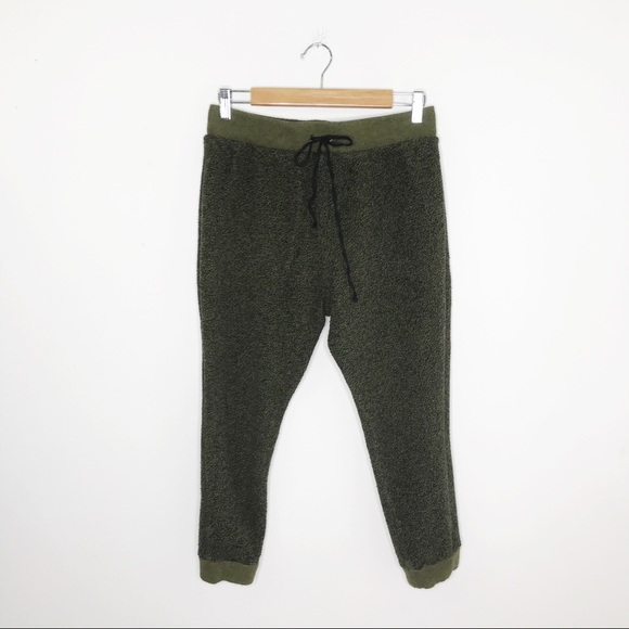 Free People Army Green Terry Jogger Crop Sweats M